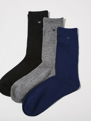 Lot 3 paires de chaussettes unies multicolore homme