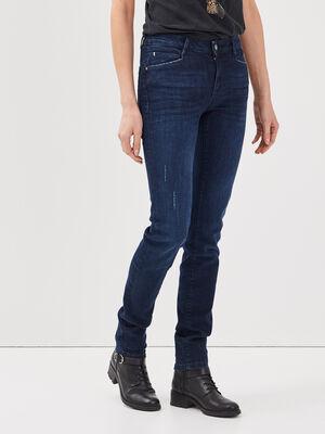 Jeans slim details destroy denim brut femme
