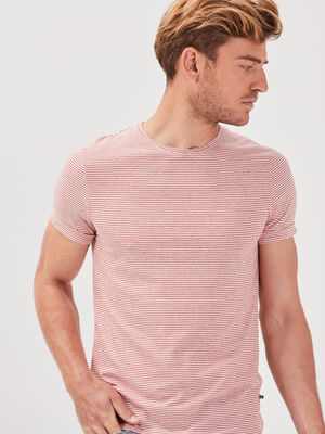 T shirt manches courtes rose corail homme