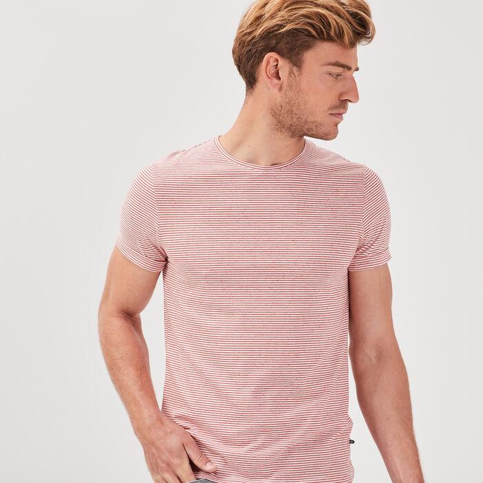 T-shirt manches courtes rose corail homme