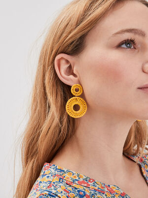 Boucles doreilles pendantes jaune fluo femme