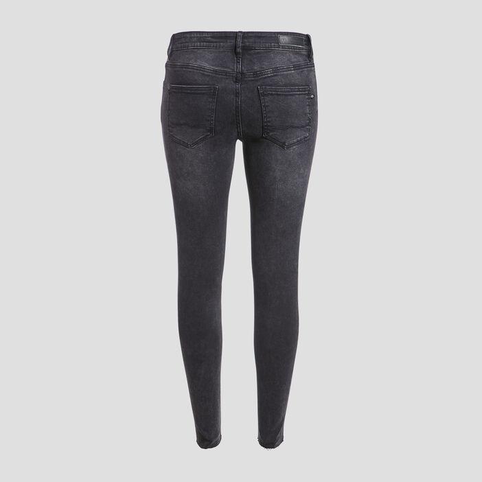 Jeans skinny détails délavés denim gris femme