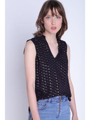 Chemise sans manches bleu fonce femme