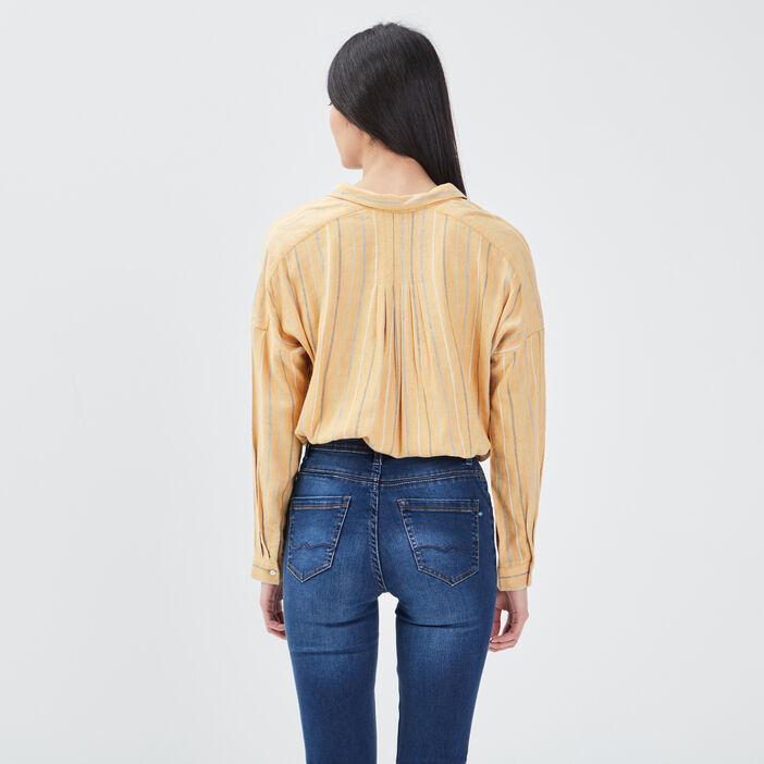 Chemise manches longues jaune femme