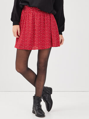 Jupe evasee taille haute rouge femme