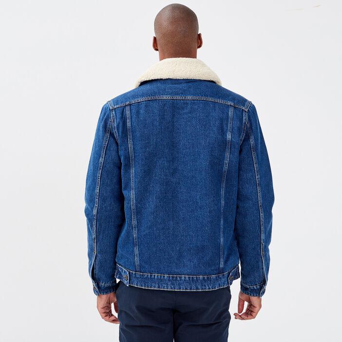 Veste droite en jean denim stone homme