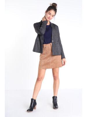 Veste cintree col crante gris fonce femme