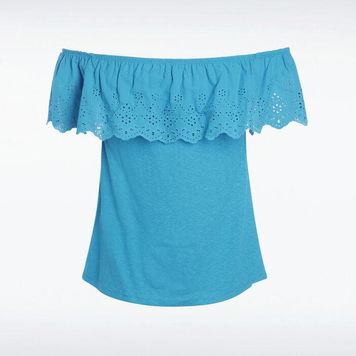 T-shirt épaule bleu canard femme