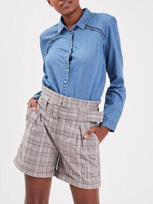 Short ample ceinture gris femme