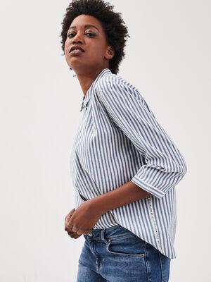 Chemise manches 34 bleu fonce femme