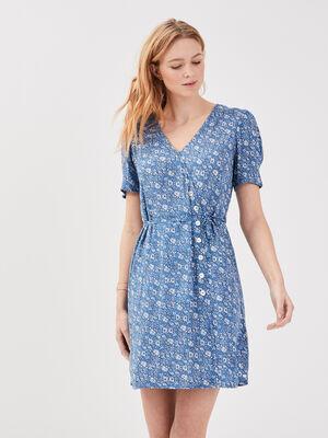 Robe effet portefeuille bleu pastel femme