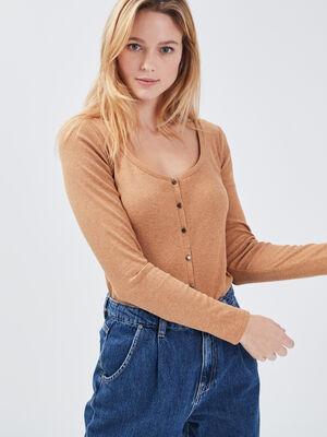 T shirt manches longues cotele marron femme