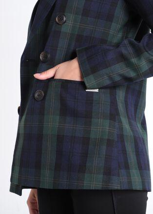 Veste blazer cintree a boutons bleu marine femme