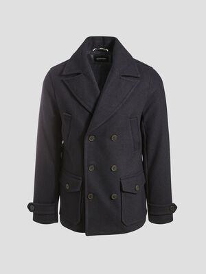 Manteau droit boutonne bleu marine homme