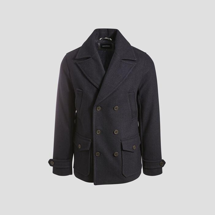 Manteau droit boutonné bleu marine homme