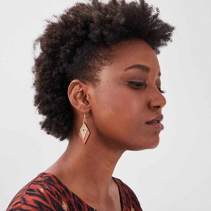 Boucles d'oreilles pendantes couleur or femme