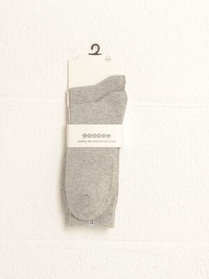 Lot 2 paires chaussettes bande gris clair homme