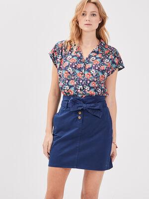 Jupe droite ceinturee bleu marine femme