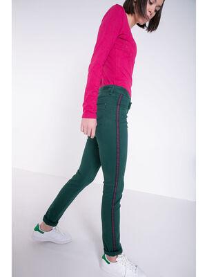 Jeans slim bandes colorees vert canard femme