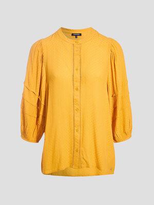 Chemise manches 34 jaune femme