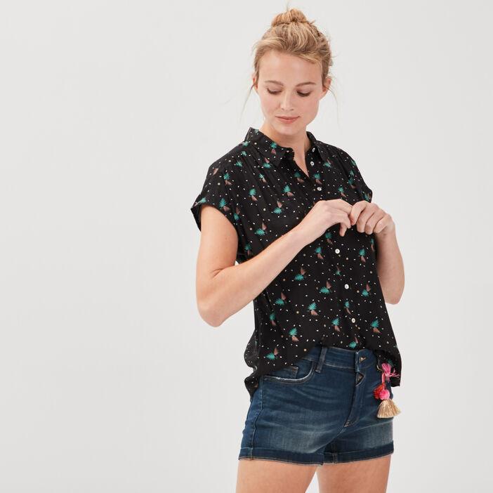 Chemise manches courtes multicolore femme