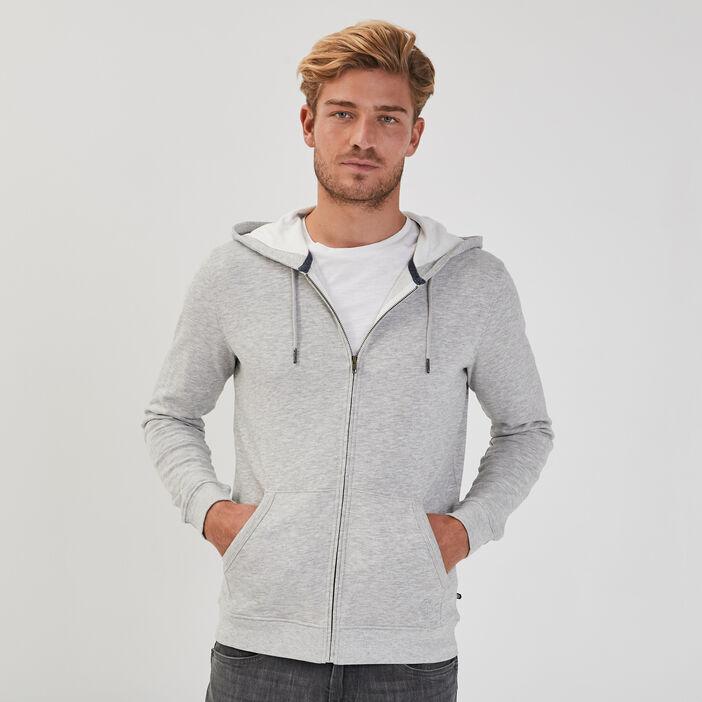 Sweat manches longues zippé gris foncé homme