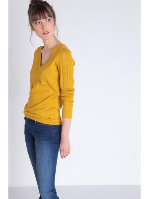 Pull manches longues col en V jaune moutarde femme