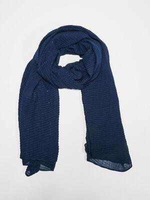 Foulard plisse bleu fonce femme