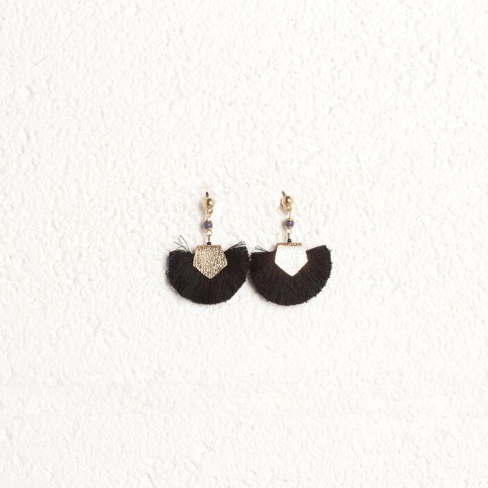 Boucles d'oreilles pendantes noir femme
