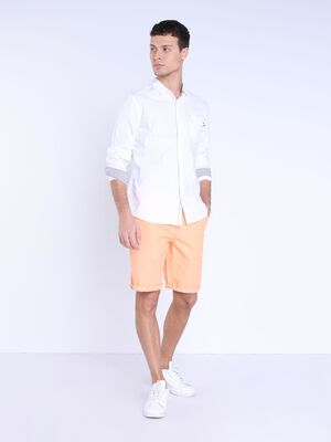 Bermuda chino a revers rose saumon homme