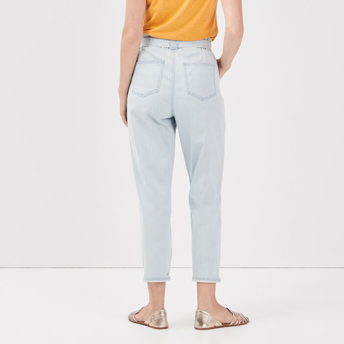 Jeans paperbag ceinturé denim bleach femme