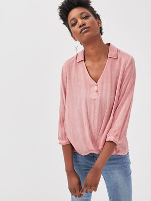 Blouse manches 34 rose femme