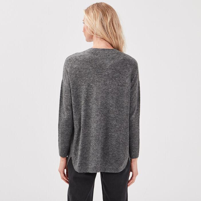 Cardigan manches longues gris foncé femme