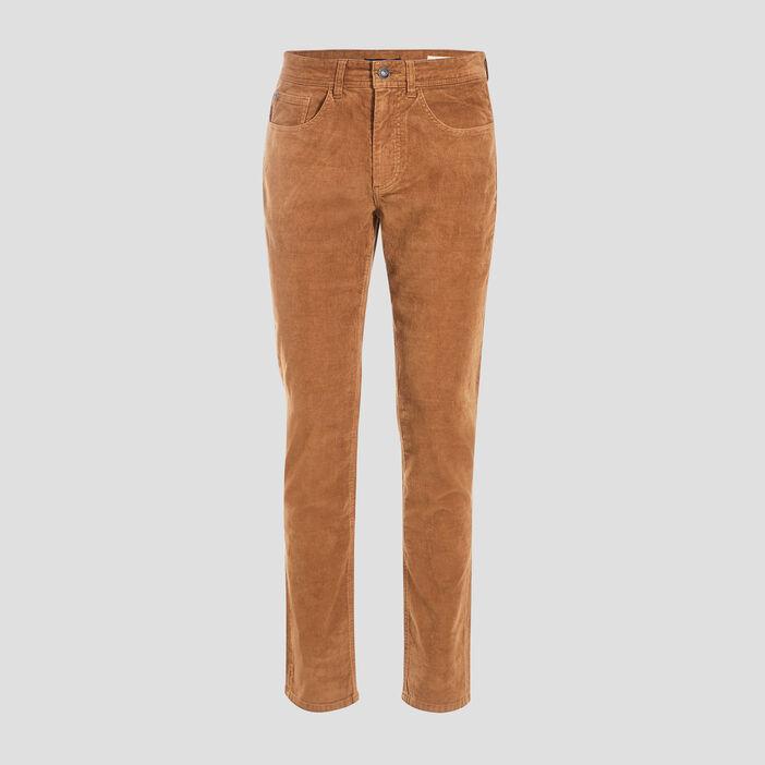 Pantalon slim effet velours beige homme