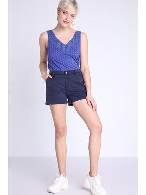 Short chino 4 poches bleu femme