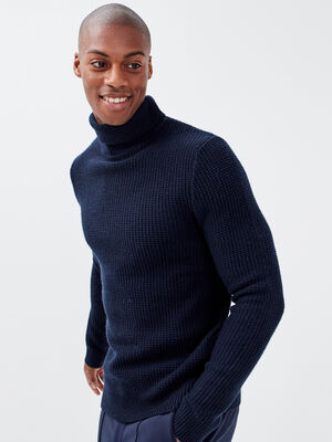 Pull col roule bleu marine homme