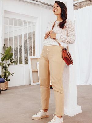 Pantalon cargo boutonne beige femme