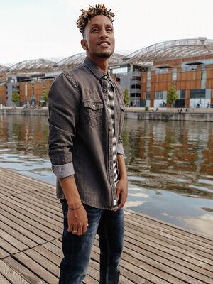 Chemise manches longues denim noir homme