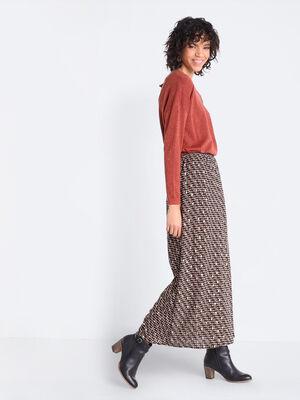 Jupe longue droite vert kaki femme
