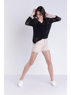 Short chino 4 poches ecru femme