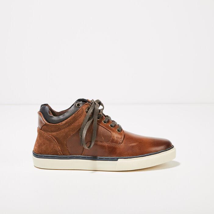 Baskets plates en cuir marron homme