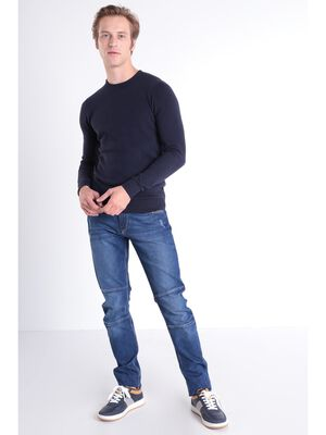 Jeans slim destroy 6 poches denim used homme