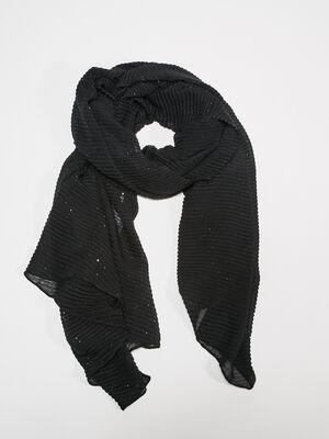 Foulard plisse noir femme