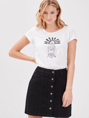 T shirt manches courtes blanc femme