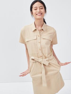 Robe droite ceinturee beige femme