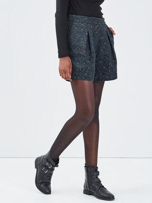 Short droit avec plis noir femme