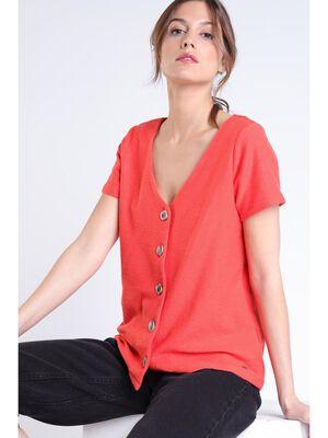 T shirt boutons orange femme