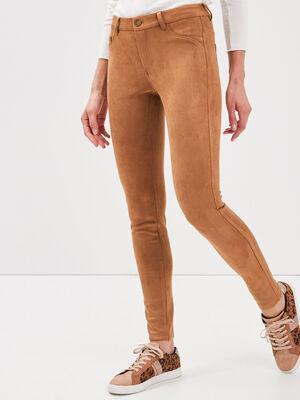Pantalon tregging suedine marron femme