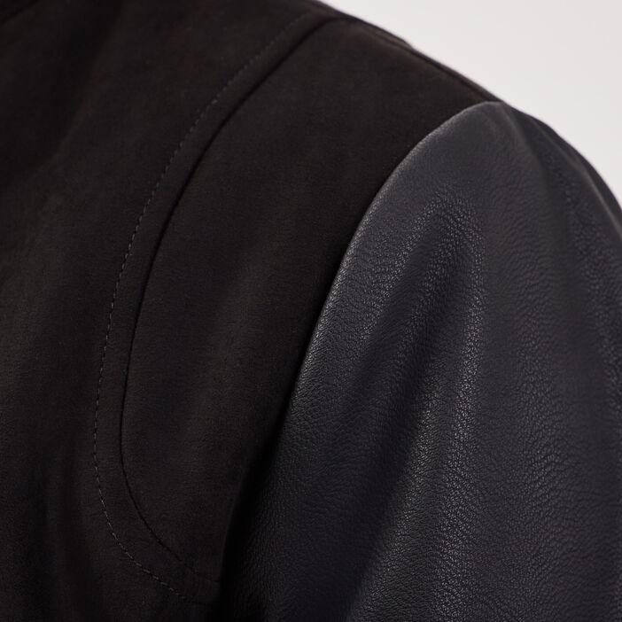 Veste teddy droite suédine noir homme