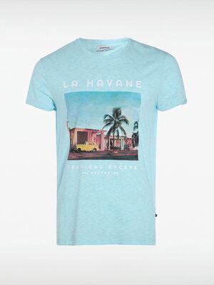 T shirt imprime bleu homme